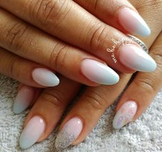 Unicorn style nails. Pink, purple and light blue acrylic ombre. Cotton candy nails. Bubblegum nails. Colourful ombre nails