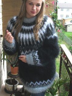 005caba6def Icelandic crewneck mohair sweater black- One size