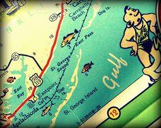 St George Island Florida vintage map print