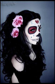 Angel de los Muertos by Katy-Angel - Sugar Skull - halloween schminke Sugar Skull Halloween, Sugar Skull Costume, Halloween Make Up, Halloween Costumes, Halloween Scene, Vintage Halloween, Mexican Halloween, Skeleton Costumes, Skeleton Makeup