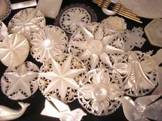 Gorgeous MOP brooches/buttons  These are called, Bethlehem Ivory.