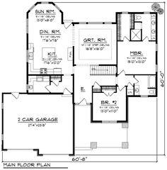 Ranch Style House Plan - 2 Beds 2 Baths 1783 Sq/Ft Plan #70-1164 Floor Plan - Main Floor Plan - Houseplans.com