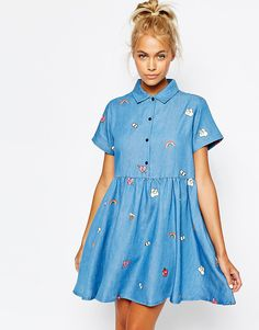 Image 1 of Lazy Oaf Button Front Shirt Dress In Denim With Patches