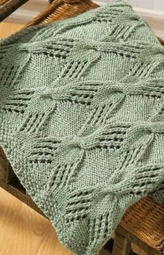 In a Pinch Afghan knitt on size 6 needles with worsted weight yarn.  Cables and lace make this a beauty.