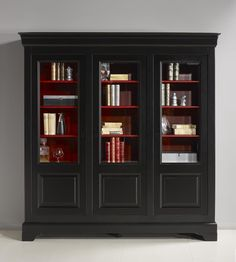 Bibliothèque 3 portes Flore réalisée en Merisier Massif de style Louis Philippe Patiné Noir et Rouge Black Hutch, Diy Painting, Furniture Makeover, Painted Furniture, Kitchen Design, Bookcase, Sweet Home, Architecture, Room