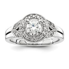 Unique Diamond Filigree Antique Vintage Halo Engagement Ring 14K White Gold (Center Diamond included) on Etsy, $1,595.00