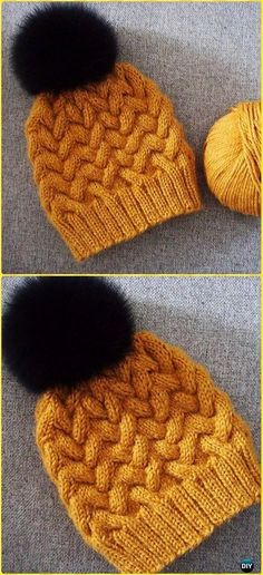 Knit Sandy Winter Cable Hat Free Pattern - Knit Beanie Hat Free Patterns