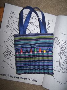 Crayon tote. Great for long car rides and restaurants.