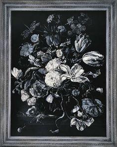 福田美蘭「モノクロームで印刷された花の静物画」(1994年、アクリル、パネル、額縁、227×182センチ、国立国際美術館蔵)(C)Miran Fukuda 2012