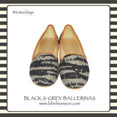 Comfort Saturdays! Black & Grey Ballerinas from http://www.labelmansion.com/black-and-grey-ballerinas.html #labelmansion #shoes #ballerinas #flats #welove #saturdays