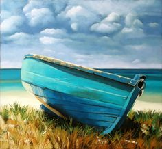 """""""Blue Boat"""" Pastel by Ria Hills"""