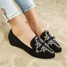 Flats Shoes | Beautiful Black Suede Pointy Closed Toe Low Heel Flats - Hugshoes.com
