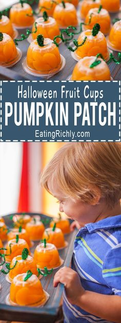 These Halloween fruit cups make an adorable pumpkin patch, perfect for bringing a healthy prepackaged snack to school that's as cute as homemade treats. Great for Halloween parties too! From http://EatingRichly.com