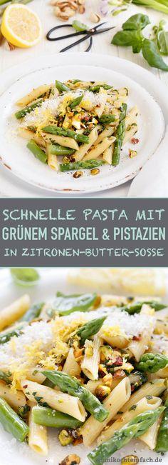 Pasta mit grünem Spargel in Zitronen-Buttersoße - www.emmikochteinfach.de