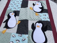 Penguin Baby Quilt by OutoftheClosetQuilts on Etsy, $40.00
