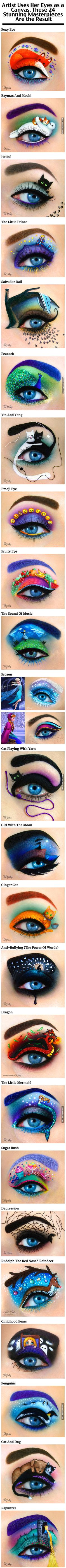 Artist Uses Her Eyes As A Canvas beautiful makeup art artistic amazing cosmetics makeup art