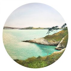 """This is an original painting in acrylic on 60cm round canvas board, titled """"Molunan Bay towards Falmouh from St Anthony's Head"""". Limited edition prints available on request. By Nigel Turner's Art."""