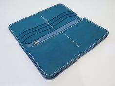 Woodmill Leather - Long Wallet Blue Color