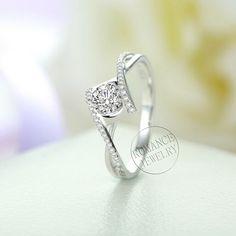 0,5 ct brillanten Moissanite Ring und 0,15 ct Diamant Ring in 14k Weissgold, Vorschlag Ring, Verlobungsring, Ehering, Charles & Colvard