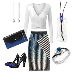 Designer Clothes, Shoes & Bags for Women David Koma, Maje, Blue And White, Black, Polyvore Fashion, Fountain, Clothing, Etsy, Style