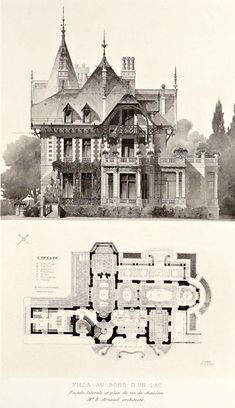 Elevation and plan for a lakeside villa, France ARCHI/MAPS : Photo