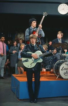 """Rolling Stones: Brian Jones photographed alongside Bill Wyman and Charlie Watts during the """"Ready, Steady, Go!"""" show at Kingsway Studios, London. The Rolling Stones, Brian Jones Rolling Stones, Rock N Roll, Keith Richards, Elvis Presley, Bass, Bill Wyman, Rollin Stones, Charlie Watts"""