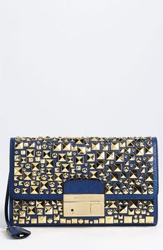 Michael Kors 'Gia' Studded Leather Clutch available at #Nordstrom @Michael Kors