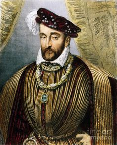 Henry II, King of France born: 31 March 1519  died: 10 July 1559  He wed Catherine de medici on 28 Oct 1533 when they were both 14 years old. Though she bore him 10 children, theirs was not a very happy marriage, as Henry took on a much older mistress who remained with him until he was severely injured in a jousting match. Catherine would not allow Diane to enter Henry's room, though he repeatedly asked for her.