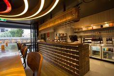 Metal-Clad Restaurant Interiors : corrugated metal wall panels