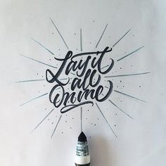 """Lay It All On Me"" by @mdemilan  #typespot for a feature! ____ #typography #type #typo #customtype #graphicdesign #script #letters #lettering #handlettering #customlettering #vector ____ #typegang #typecally #typetopia #typematters #thedailytype #strengthinletters #goodtype #ligaturecollective #typespire #typographyinspired #artoftype #designspiration #todaystype #thedesigntip #50words by typespot"