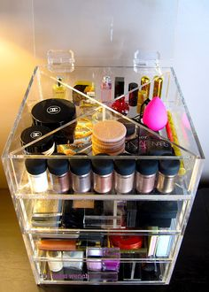 Clear Cube Alternative Make up Storage.  So cool as you can see what you need.