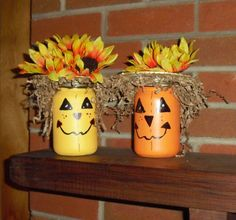 Scarecrow and Pumpkin made from Mason Jars