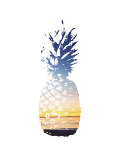 Pineapple & ocean sunset print, blue and yellow === Print out this modern wall artwork from your home computer or local print shop to