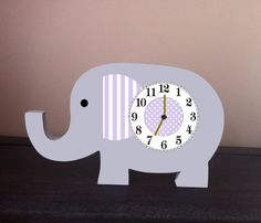 Children's clock, elephant nursery, elephant clock, wooden elephant, nursery decor, elephant wall art, elephant wall decor, gray and purple by TheWoodenOwl on Etsy https://www.etsy.com/listing/189676209/childrens-clock-elephant-nursery