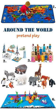Around the world - pretend play idea. A world carpet where kids can play with monument, people and animal toys | at Non Toy Gifts #pretendplay