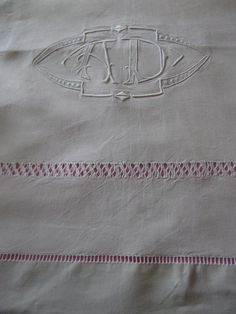Antique FRENCH LINEN SHEET monogrammed linen personalized linen. $135.00, via Etsy.