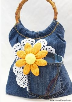 Super cute Purse made from old jeans Tutorial on making it