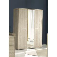 Jolie armoire moderne à 3 portes ouvrantes avec miroir au centre ! Sa structure est fabriquée en panneaux de particules de haute qualité pour assurer une sol...