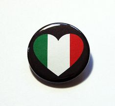 Italy Pin Pinback buttons Lapel Pin I Love Italy by KellysMagnets