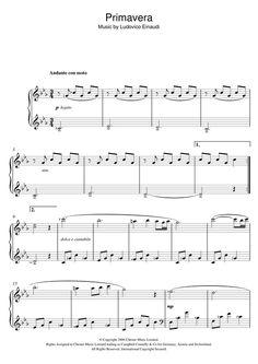 Ludovico Einaudi: Primavera - Partition Piano Solo - Plus de 70.000 partitions à imprimer ! Violin Music, Piano Sheet Music, My Music, Partition Piano, Electric Piano, Music Notes, The Dreamers, Entertaining, Sheet Music