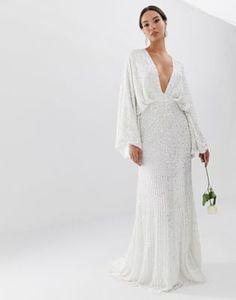 d1c384cf643 ASOS EDITION sequin kimono sleeve wedding dress Sequin Kimono