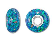Find this 7x14mm mother of pearl blue and green mosaic roundel bead at Artbeads.com, a sparkling blue-green bead with a silver 4.7mm hole.