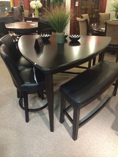 triangular dining table with bench seating Counter Height Item