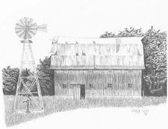 Barn  Windmill Drawing Charcoal Ink Art Farm by ChicCharcoals  I