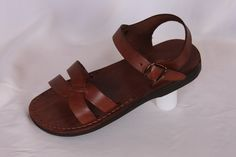 Jesus sandals leather sandal for women by holylandstuffdotcom Low Heel Sandals, Low Heels, Jesus Sandals, Brown Leather Sandals, Female Models, Flats, Unisex, Holy Land, Women Sandals