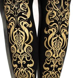 Art Nouveau Printed Tights Large L Gold on Black by TejaJamilla, $25.65