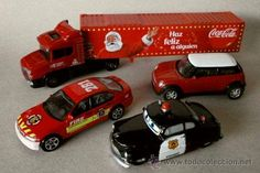 Lote Camión Coca-Cola y 3 coches metálicos - Welly / Disney Pixar / Realtoy - Mini Cooper, BMW