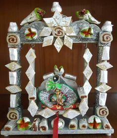 Janamashtami Decoration Ideas, Festival Decorations, Wedding Decorations, Janmashtami Decoration, Decorated Gift Bags, Krishna Janmashtami, Lord Krishna, Shree Krishna, Shiva