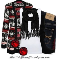 I like this with jeans or leggings. It could have been a bad Christmas sweater situation but it looks nice.