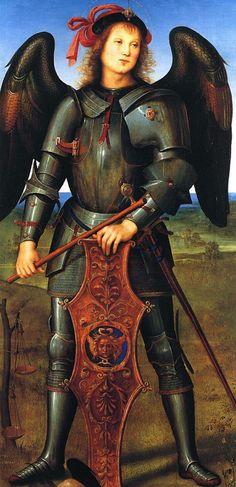 Perugino,  Arcangelo Michele (già scomparto laterale sinistro del 'Polittico della Certosa di Pavia'), 1496-1500 c., Londra, The National Gallery, olio e tempera su tavola, 114,7 x 56,6 cm.